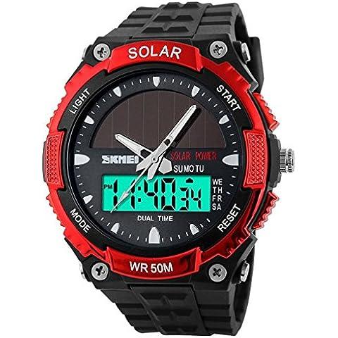 downj energia solare sport orologi uomo 50m impermeabile Outdoor militare multifunzionale orologio (Rosso)