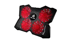 KLIM Wind Laptop Cooling Pad - PC Cooler Fan - The Most Powerful & Light Chill Mat - Ultra Rapid Air Cooling Action - 4 Fans Ventilated USB Support Gamer Gaming - Black and Red - New 2018 Version