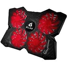 KLIM Wind Raffreddatore per PC portatile - Il Più Potente - Azione Rapida - 4 Ventole con Supporto per Gaming PC (Nero e Rosso)