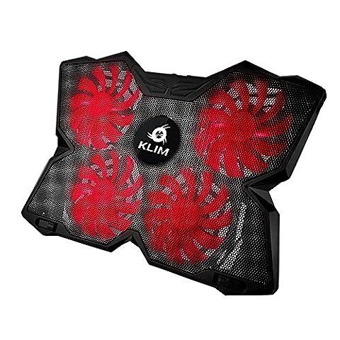 KLIM Wind Laptop-PC Kühler – Leistungsstark wie kein anderer – Schneller Kühlvorgang - 4 Lüfter Belüfteter Notebookständer Gamer Gaming Stützhalterung ( Schwarz und Rot )