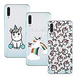 Young & Ming Compatibile con Cover Galaxy A70, (3 Pack) Morbido Trasparente Silicone Custodie Protettivo TPU Gel Case, Unicorno