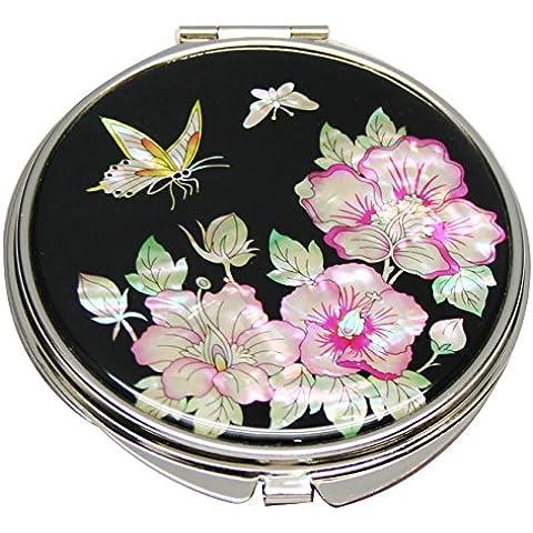 Madre di perla rosa di Sharon Design doppio ingrandimento compatte borsa bellezza trucco tasca specchio