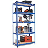 VonHaus 1.8m 5 Tier Garage Shelves Racking Utility Heavy Duty Industrial Steel & MDF Boltless Racking Shelving Unit or Workbench - Massive 1325Kg Capacity | 180cm H 90cm W 45cm D | 265kg Per Shelf