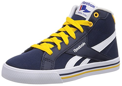 Reebok - Royal Comp Mid CVS, Sneakers da Bambini e ragazzi Blu(Blau (Collegiate Navy/Fierce Gold/White))
