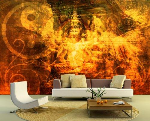 apete - Buddha Urban - 230x150 cm - Tapete mit Kleber – Wandtapete – Poster – Dekoration – Wandbild – Wandposter – Wand – Fotofolie – Bild – Wandbilder - Wanddeko – Buddhismus – Religion - Glaube – Körper und Geist – Wohnzimmer – Schlafzimmer – Arbeitszimmer – Büro – Flur (Urban Dekorationen)