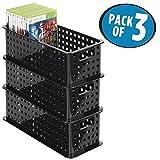 mDesign 3er-Set DVD-Aufbewahrungsbox – praktisches Aufbewahrungssystem mit Griff für DVDs, CDs und Videospiele z. B. PS4 – große Aufbewahrungsbox Kunststoff – schwarz