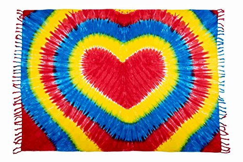 Beste Auswahl Großer Premium Sarong Pareo Wickelrock Strandtuch Schal Handtuch Wickelrock Herz Batik