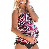 Inlefen Frauen-Mutterschafts-Blatt-Drucken Tankini-Badeanzug plus Größen-schwangere zweiteilige Strand-Badebekleidung