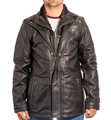 Hommes Cuir long ŽlŽgant manteau d'hiver dŽcontractŽ avec double collier Noir