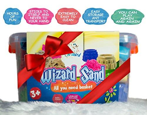 *Riesige Packung Kinetischer Sand – 4 Farben 2kg, 18 Kreatives Instrumente, Großes Spielbrett, Travel Box, Ekologisch*