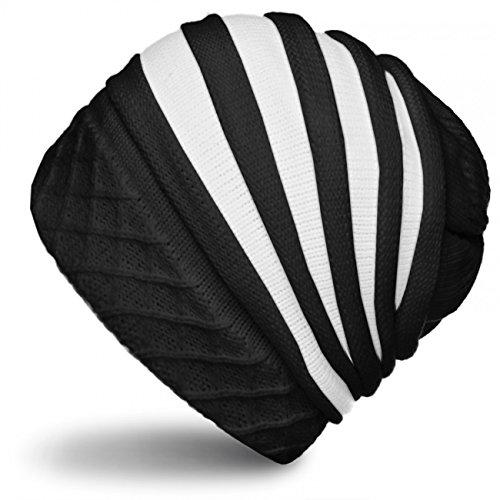 CASPAR Unisex Winter Strick Mütze / Long Beanie mit stylischem Streifen Muster - gefüttert - viele Farben - MU092, Farbe:schwarz / weiß;Größe:One Size (Streifen Strickmütze)