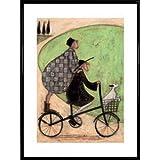 Sam Toft Poster Kunstdruck und Kunststoff-Rahmen - Mr Und Mrs Mustard, Doppeldecker Fahrrad (80 x 60cm)