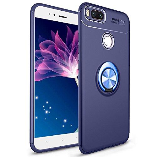Vectady für Xiaomi Mi A1 Hülle, Silikon Schutzhülle Case Premium Handyhülle für Xiaomi Mi ASilikon Schutzhülle Case mit Ring Ständer Stoßfest Handytasche Kratzfest Schale für Xiaomi Mi A1 - Blau