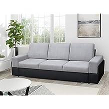 Couch Mit Schlaffunktion Sofa Schlafsofa Wohnzimmercouch Bettsofa Ausziehbar BRUNO Grau