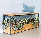 INDOGA Pflanzenmöbel AURA für Wohnzimmer, Bad, Küche und Flur – Unten Pflanzen, oben als Bank nutzbar, für Bücher, Deko etc. | 104x26x50 cm | massive Eiche und Metall schwarz