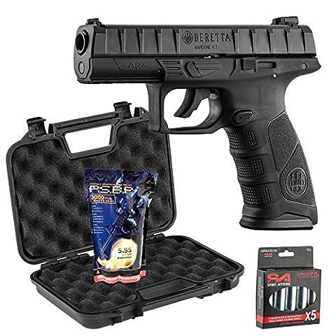 Pack Beretta Apx 0,5J - CO2 + mallette Noire + 5 capsules de CO2 + 3000 billes 0,25g G&G