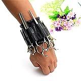 NACHEN Supermächtig Klettverschluss Magnetic Armband Handgelenk Taschen Trendige Friseur Friseur Scheren Tasche,Black,25*9.3CM