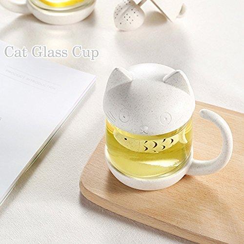 comprare on line Tazza di tè alla tazza di vetro del gatto della bottiglia dell'acqua con il filtro dell'infusore del tè del pesce Filtro 250ML (8OZ) prezzo