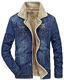 Herren Winter Warm Dicke Luxuriös Denim Cotton Bomber Taktische Jacke Mäntel Militär Parka Coat Plus Samt Gefüttert Draussenn (EU/DE Small, Blau)