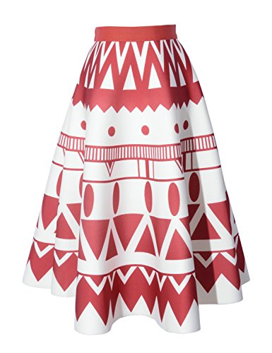 Relaxfeel Hohe Taille Vintage-Tutu A-Line Minirock -elastische Taille Red Geometric