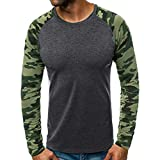 serliyHerren Männer T-Shirt Tarnung Top Bluse Männer Drucken Tees Shirt Langarm T-Shirt Casual Bluse Herbst Winter Rundhalsausschnitt Oberseiten TunikaTops Sweatshirts