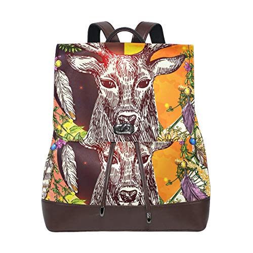 Ahomy - Mochila de piel para mujer, estilo boho, plumas de ciervo, impermeable, antirrobo, mochila informal
