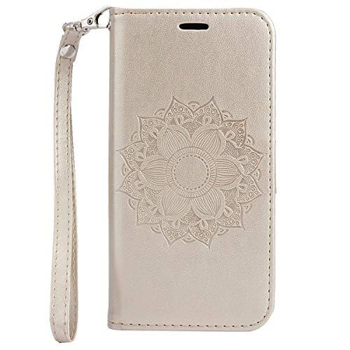 Herbests Handy Schutzhülle für iPhone XS Handyhülle Mandala Blumen Leder Hülle Brieftasche Ledertasche Klapphülle Handy Tasche Flip Case Leder Case mit Kartenfächer Magnet,Gold