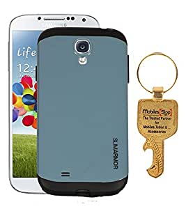 FUSON THERMOPLASTIC FINISH DUAL LAYER ARMOR HARD BACK CASE COVER FOR SAMSUNG GALAXY S4 - I9500 - GREY WITH KEY
