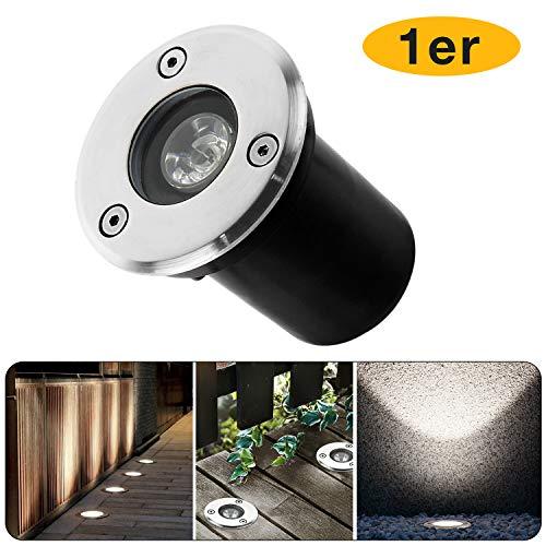 Led Downlight Encastré 230V Encastré Downlight Lumière Extérieure IP67 Projecteur de Jardin Extérieur (Blanc Naturel, Rond 1W)