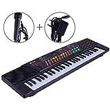 JUFENG 54 Tasti Tastiera Digitale per Bambini Pianoforte Musicale per Adulti O Bambini Regalo per Principianti Elettronico con Microfono da Organo,Black