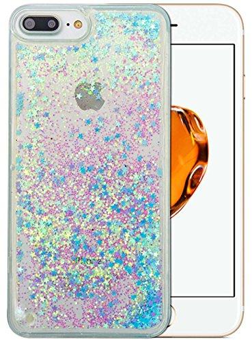 Preisvergleich Produktbild Ultra Slim Soft TPU Apple iPhone 7 Plus Hülle Silikon Glitzer Dünn Bunt Muster [Blau Stern] iPhone 7 Plus Hülle Transparent Durchsichtig Glitter Liquid Glänzend Bling Fließen Flüssig Flüssigkeit Schutzhülle Tasche