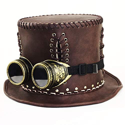 (GY Steampunk Zylinder, Industrielle Retro Gentleman Top Hut, Top Handwerk Produktion, Echte Patentierte Produkt, Weiblich, 4 Größen, Höhe 16 cm,S)