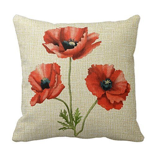 """NicholasCGShopOnline C5331F Cotton Linen Decorative Throw Pillow Case Cushion Cover Beautiful Red Poppies Floral 18 """"X18 """""""