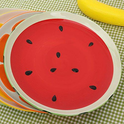Aliciashouse Wunderschöne handgemalte Platte Obst Wassermelone Zitrone Keramikplatte kreative Geschirr-Wassermelone