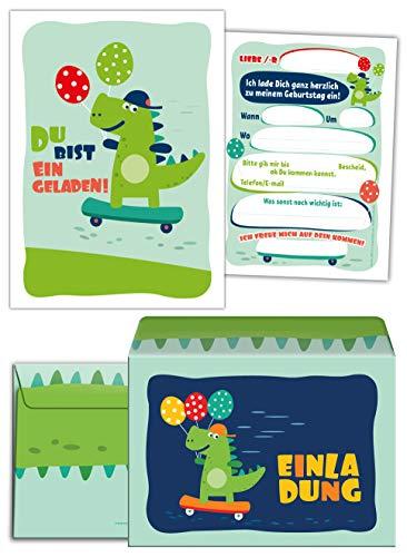 12 Einladungskarten incl. 12 Umschläge zum Kindergeburtstag Dinosaurier für Jungen Jungs Einladungen Geburtstag Kinder