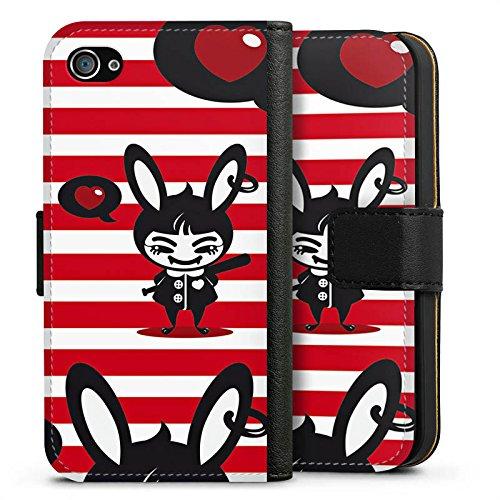 Apple iPhone X Silikon Hülle Case Schutzhülle Hase Bunny Streifen Sideflip Tasche schwarz