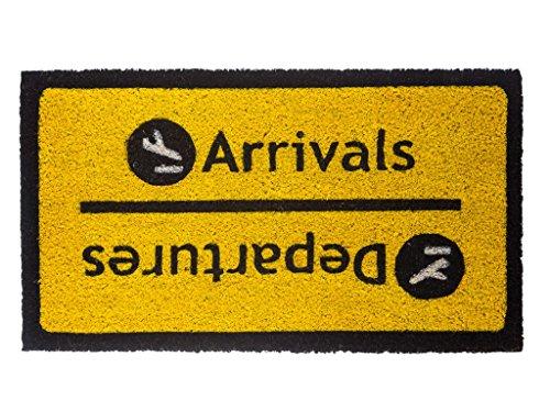 Fisura DM0091 - Felpudo diseño Arrivals Departures, color negro con f