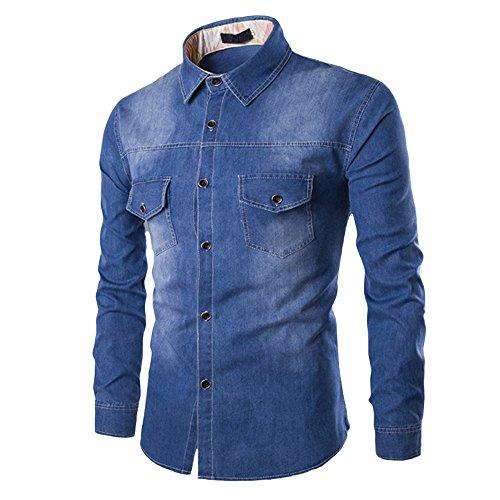 Makefortune Männer Casual Button Down Denim Shirts Langarm Hemd Slim Fit mit Tasche 3 Farben