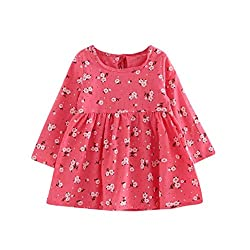 For 2-7 Years old Girls,Clode® Cute Toddler Kids Baby Girls Flower Print Dress Casual Puff Long Sleeve Princess Dress