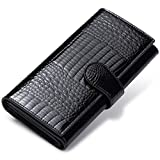 JEEBURYEE Portefeuille Porte-monnaie en cuir pour Femme Grande Capacité Long Chic Porte Carte de Credit avec Protection RFID Portefeuille Compagnon femme de Voyage Noir