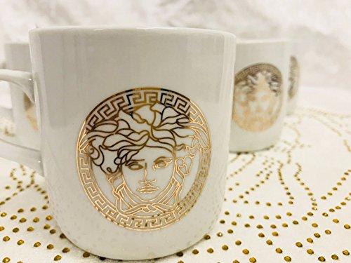 Medusa Kaffee Becher mit Löffel für 6 Personen Tassen Geschirr Porzellan 12 Tlg. (V2)