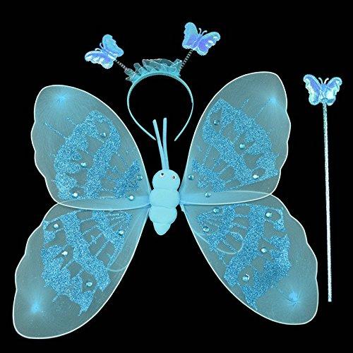 Kasit 3Pc gesetztes reizendes Partei-Kostüm-Prinzessin-Mädchen-Kinder Sparkly Schmetterlings-Flügel-Stab-Stirnband-feenhaftes Weihnachtskostüm - Blau