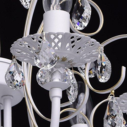 Deckenleuchte Kronleuchter weiß Kristall klar Metall klassisch Ø - 9