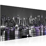 Bilder New York City Wandbild 100 x 40 cm Vlies - Leinwand Bild XXL Format Wandbilder Wohnzimmer Wohnung Deko Kunstdrucke Weiß 1 Teilig - Made IN Germany - Fertig zum Aufhängen 601912c