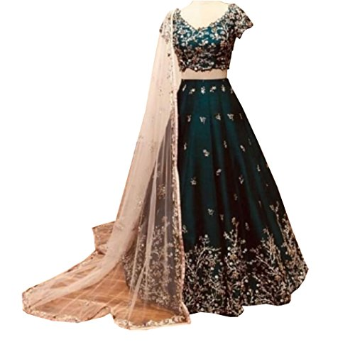 Zalak Enterprise Women's green Silk Lehengas cholis(zk616_green_Free Size)