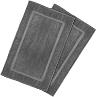 Utopia Towels 53-Centimeters-by-86-Centimeters Washable Cotton Banded Bath Mat, 2 Pack, Smoke Gray