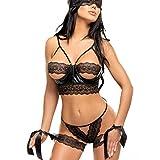Beauty Night conjunto Sexy negro sujetador abierto String máscara/esposas talla S/M