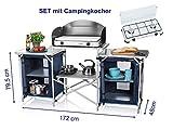 XXL stabile Campingküche faltbar - zum OUTDOOR KOCHEN - im praktischen SET mit Gaskocher