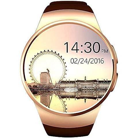 VSSPEED Bluetooth 4.0 di Smart Watch Orologio, di 1.3 Pollici Rotonda dello Schermo di Tocco Impermeabile Frequenza Cardiaca Smartwatch Anti-ha Perso il Controllo Remoto APK per iOS di Apple iPhone Android (Oro)