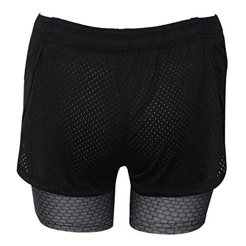 Culater® Femmes Mode Ssport Gym Workout ceinture Skinny Yoga Shorts Jeans/Pantalons Gris